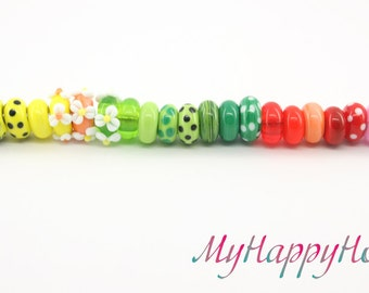 Glass lampwork  bead  bracelet with flower, dots