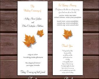 125 Fall Leaf Wedding Ceremony Programs