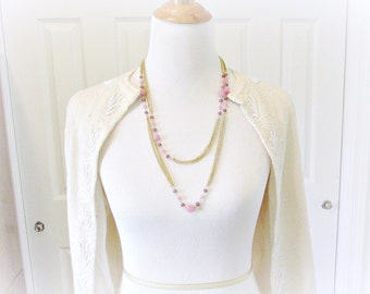 Vintage Long Beaded Necklace, Purple Pink Glass Bead Necklace, Long Gold Chain Necklace, 1960s Art Deco Great Gatsby Flapper Jewelry