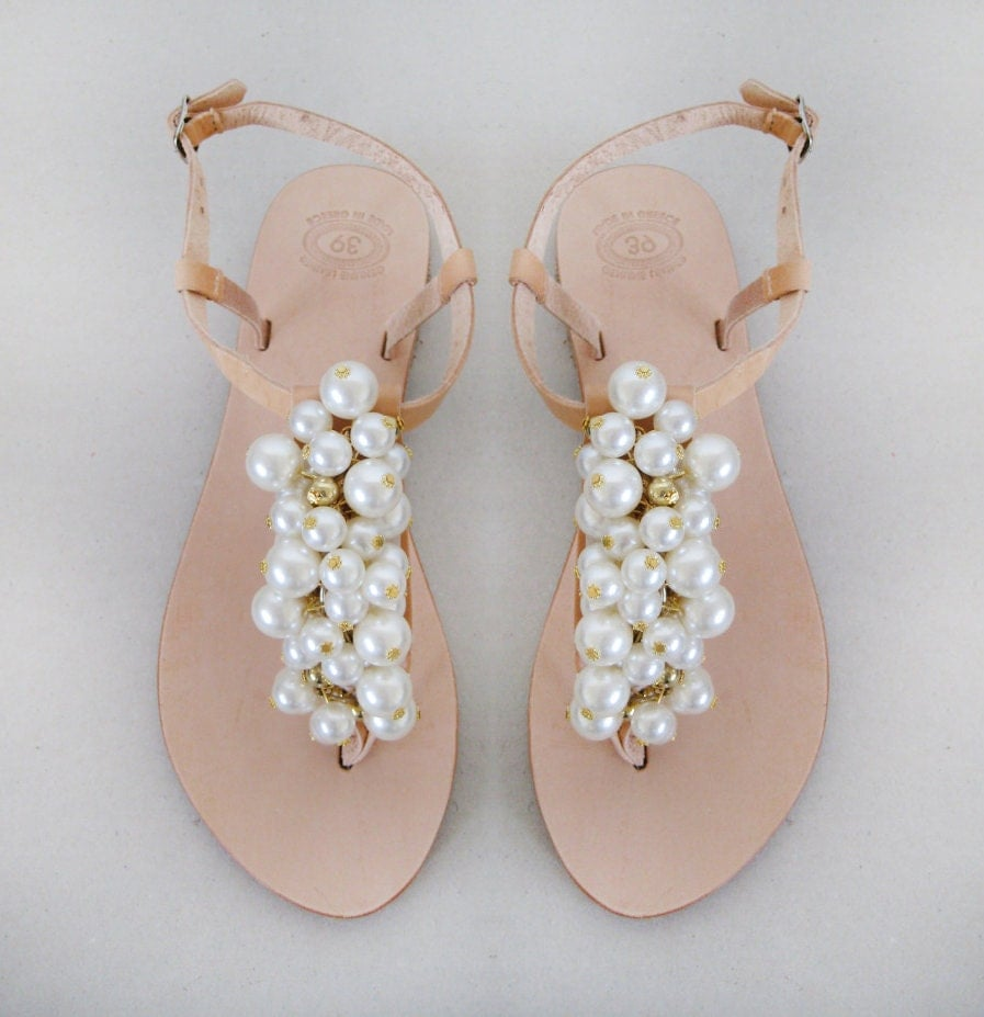 Wedding Shoes Handmade Sandals Decorated With Pearl And
