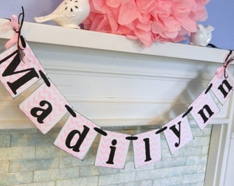 Chevron Childrens NAME Banner / 1st birthday decoration  / Baby Shower Decorations / Birthday Banner / Custom Colors / anyoccasionbanners