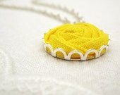 Yellow Flower Necklace in Neon Pineapple - Kona Fabric Daisy Necklace