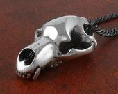"Bear Skull Necklace - Antique Silver Cave Bear Skull Pendant on 24"" Gunmetal Chain"