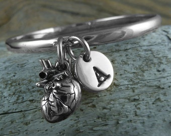 Heart Bracelet with Initial Charm - Silver Anatomical Heart Bracelet with Letter of Your Choice - Heart Bangle