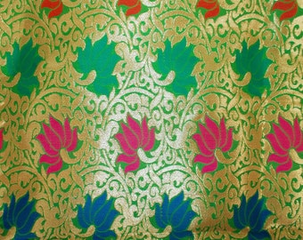 One yard of Indian silk brocade in gold,green,blue and red