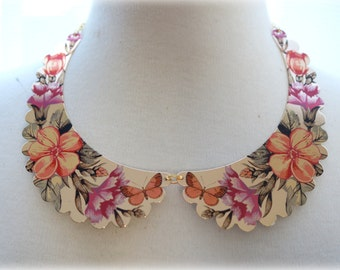 ON SALE  Floral with Butterflies Scalloped Collar Necklace
