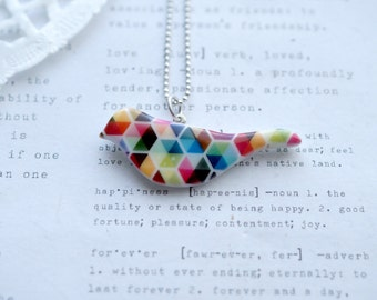 Ceramic Bird Necklace with Colourful Geometric Print