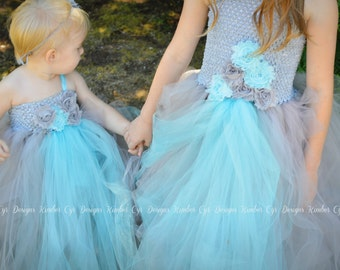 Grey and Light Blue Flower girl or Party Dress--Customize anyway