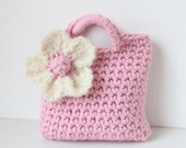 Little Girl Little Purse in light pink with ivory statement flower