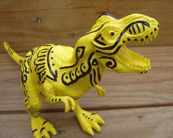 Tattooed Dinosaur Tyrannosaurus T Rex handpainted toy decor kitsch yellow