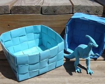 Upcycle nesting baskets with matching dinosaur toy parasaurolophus ocean blue seafoam green bright handmade baskets