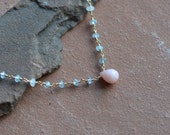 Mixed Gemstone Necklace, Pink Opal Pendant, Swiss Blue Topaz, Moonstone, Wire Wrapped Rosary Style Links, Gold