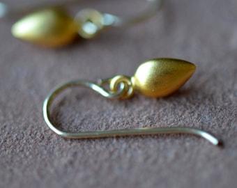 Minimalist Gold Earrings, Dangling 24k Gold Vermeil