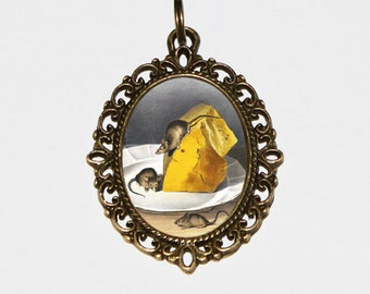 Mice Necklace, Cheese, Mouse Jewelry, Oval Pendant