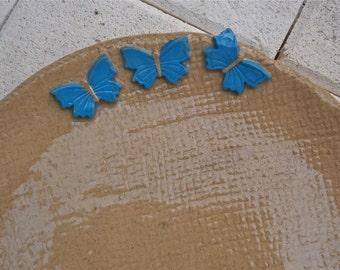 Blue butterfly plate, Breakfast plate with sky blue butterflies - handbuilt stoneware