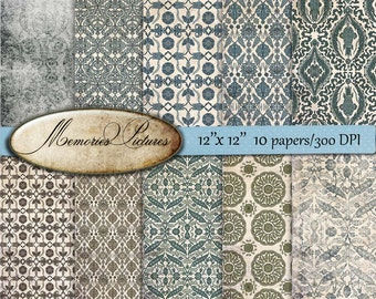 Digital scrapbook  Paper Pack // oriental, asia,  wallpapers //  Backgrounds // Commercial Use // 12 x 12 sheets,  10  papers (72)