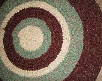 Handmade Crochet Brown and Green Rag - For Etsy