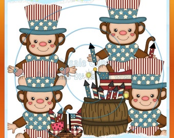 4th of July Monkey Boys 1 Clipart (Digital Download)