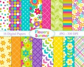 Flowery Sumer - Digital paper set - Backgrounds
