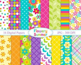 Flowery Summer - Digital paper set - Backgrounds