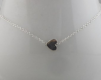 Sideways Sterling Silver Tiny Heart Necklace