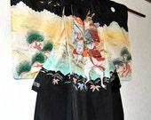 45% OFF Authentic Japanese Silk Kimono, Asian Silk Robe, Black Kimono, Samurai Helmet Jacket, Boys xxs Wall Hanging, Man Cave, Gifts