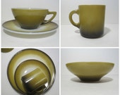 Vintage Dishes, Avocado green and black, milk glass, 7 piece setting, plate, cup, mug, bowl
