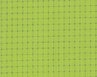 Kona Creative Thread Fabric, Lime Green with Royal Blue Thread, Cotton