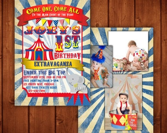 Vintage Circus Carnival Birthday Invitation Blue, Red and Yellow Digital file or Add Prints Front & Back