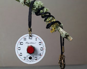 Regulateur Francais Necklace(french,watch dial,red and white,chic,elegant,one of a kind) by ISLA Bijoux designs