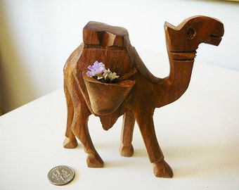 In the desert wooden camel, Arabian nights ornament, small hand carved