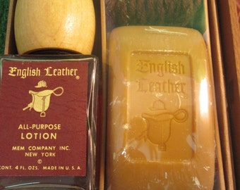 ENGLISH LEATHER all purpose lotion and soap on Roap MEM company wooden gift box 4 fl oz  kitschy mid century