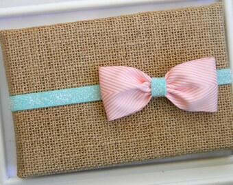 Aqua and Pink Chevron Bow Headband, Aqua Glitter Headband, Baby Headband, Baby Bow Headband