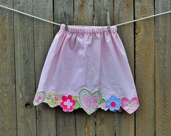 Girls Skirt, Pink hearts skirt, 6m,9m,12m,18m,2t,3t,4,5,6 eco-friendly, upcycled