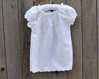 Girls Ivory Eyelet Peasant Shirt, top, blouse..Rustic Wedding, White Eyelet...Eco-friendly...12m,18m,2t,3t,4t,5,6,8, 10