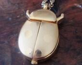 Vintage Lady Bug Clock Pendant Necklace