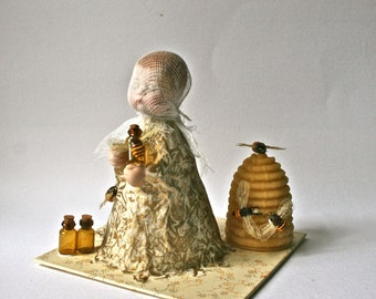 The Bee Keeper - Mixed Media and Papier Mache Sculpture for Home or Office Decor
