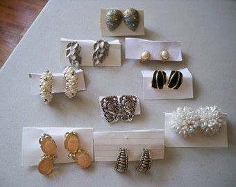 Assortment of 9 Pair of Vintage Clip Earrings
