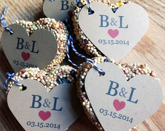 30 Bird Seed Heart Shaped Favors Wedding and Baby showers - Personalized bird seed favors