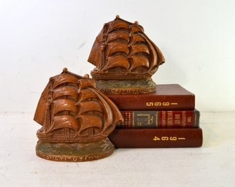 "Vintage Syroco Wood-Like Nautical Sailing Ship / Schooner ""The Constitution"" Bookends"