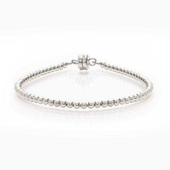 Tiny Silver Beaded Friendship Bracelet