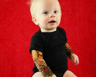 Rockabilly Baby Tattoo Sleeve Black Onesie Shirt