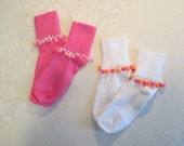 READY TO SHIP - 2 pairs of Girls Cuff Socks with Beaded Trim -Bright Pink and White
