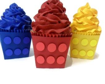 Blocks Cupcake Wrappers - Set of 12