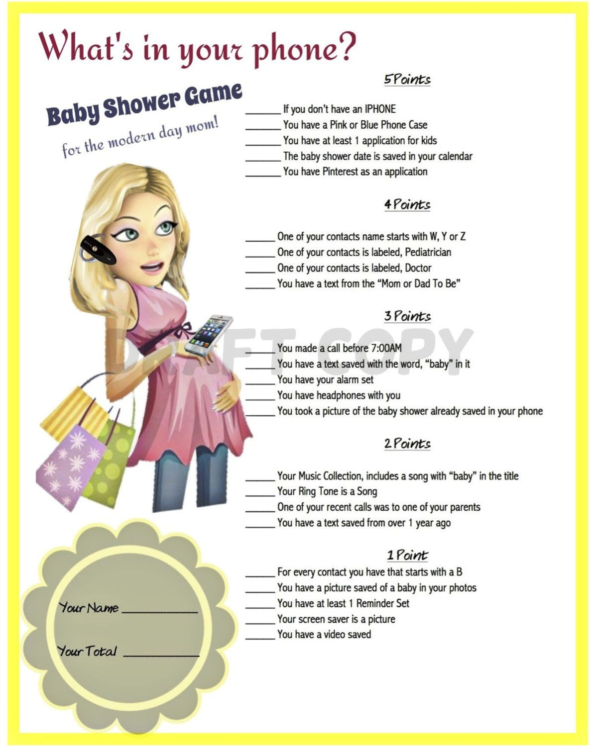 Trust image within what's in your phone baby shower game free printable