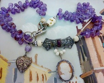 LADY AMETHYST  antique sterling cameo vintage assemblage necklace