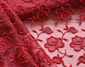 Red Floral Lace Fabric, Red Roses, Wine Red Lace, Dark Rose, Embroidered Lace, Holiday Red, Christmas Dress