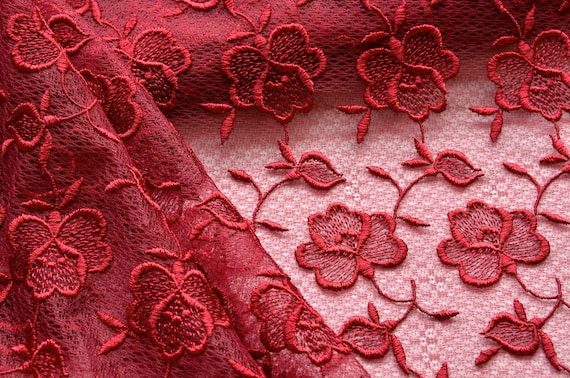 Items similar to red floral lace fabric roses wine
