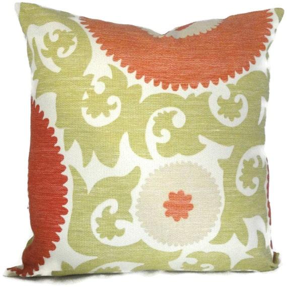 Fahri Hibiscus Coral Suzani Decorative Pillow Cover Lumbar