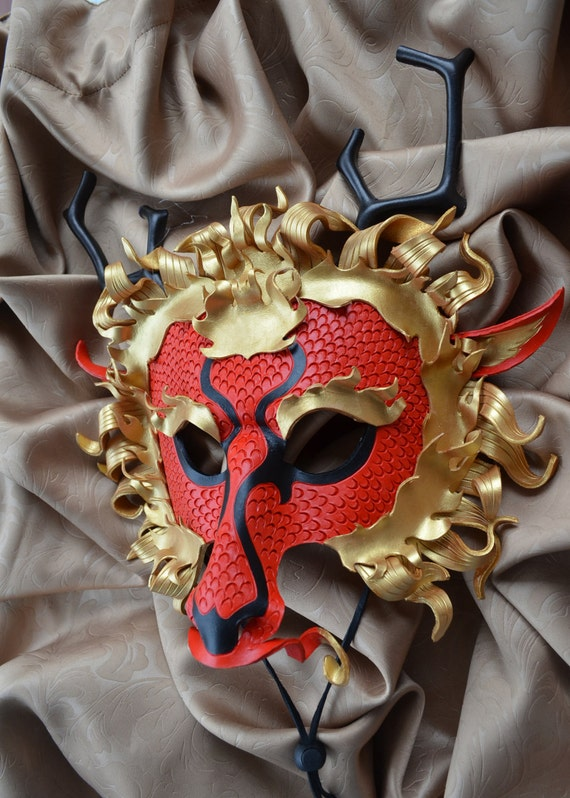 Items similar to Chinese Dragon Leather Mask - Halloween ...